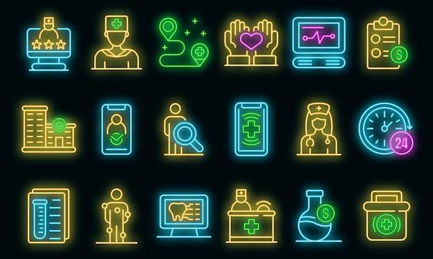 Privékliniek pictogrammen instellen. overzicht set van privékliniek vector iconen neon kleur op zwart