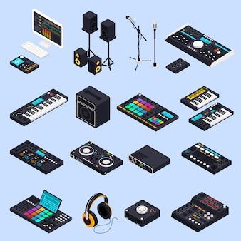 Pro audio gear geïsoleerde set