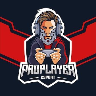Pro esports-gamer met een robotkoplogo-ontwerp