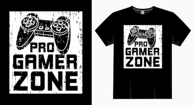 Pro gamer zone typografie en controllerontwerp voor t-shirt