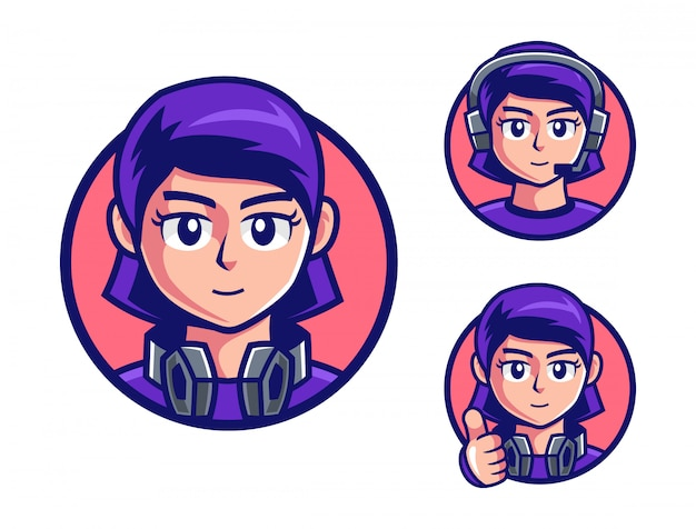 Pro gamers tienermeisje logo-ontwerp