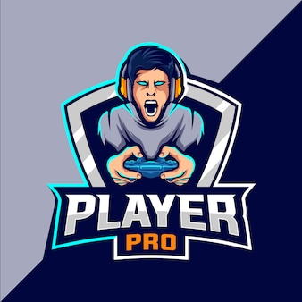 Pro player esport game logo ontwerp