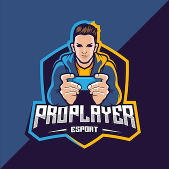 Pro-speler esport game logo-ontwerp