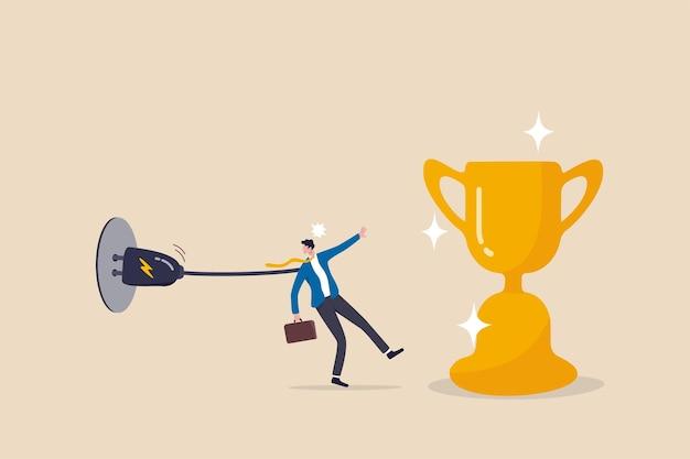 Probeer te hard, zakelijke limiet of fout die mislukking veroorzaakt, bijna succes maar faal, slecht planning of wanbeheerconcept, zakenman die te hard probeert te bereiken voor prestatie maar faalt met beperking.