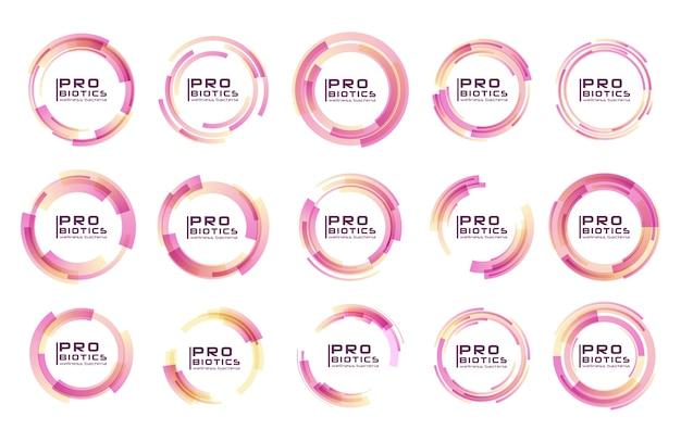 Probiotica bacteriën logo. prebiotisch, lactobacillus. medische pictogrammen naadloze patroon. Premium Vector