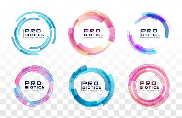 Probiotica bacteriën logo. prebiotisch, lactobacillus. medische pictogrammen naadloze patroon.