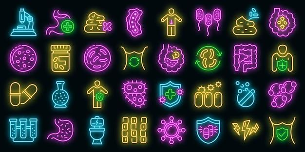 Probiotica pictogrammen instellen. overzicht set van probiotica vector iconen neon kleur op zwart