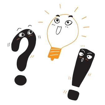 Probleem oplossing pictogram in de hand tekenen stijl. gloeilamp idee vectorillustratie op witte geïsoleerde achtergrond. vraag en antwoord bedrijfsconcept.