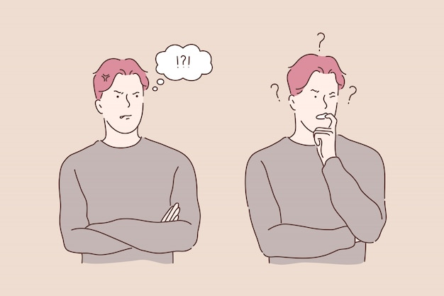 Probleem, stress, tekstballon, denken ingesteld concept