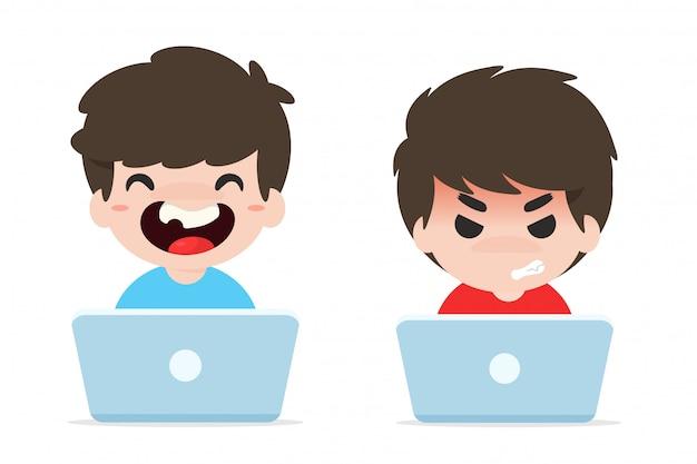 Probleem van kinderen met internetverslaving.