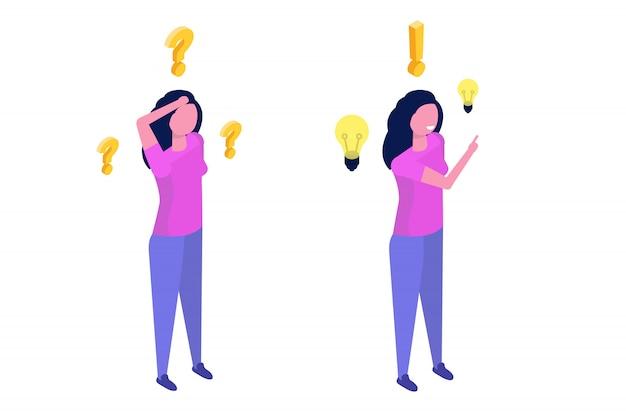 Probleemoplossend concept. isometrische vrouw die met vraagteken en gloeilampenpictogrammen denken.
