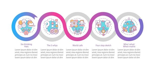 Probleemoplossende methoden infographic sjabloon. creatief denken presentatie ontwerpelementen