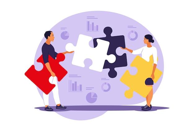 Probleemoplossing. creatieve beslissing. mensen moeilijk taakconcept. puzzel in elkaar zetten.