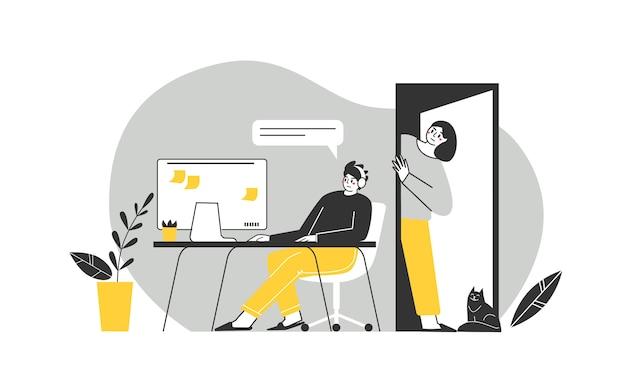 Problemen met de relaties tussen tieners en hun ouders. afhankelijkheid van gadgets. tieners van hun ouders negeren. vector illustratie