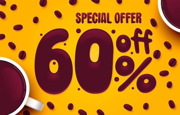 Procent korting creatieve samenstelling koffie speciale aanbieding verkoop banner en poster vector