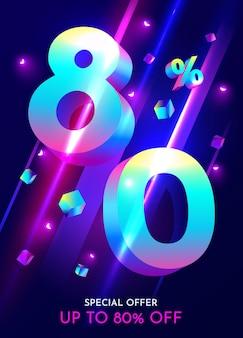 Procent korting op creatieve compositie mega sale neon banner