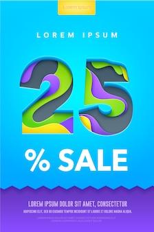 Procent korting poster of flyer in papier art carving stijl. kleurrijke heldere vector illustratie