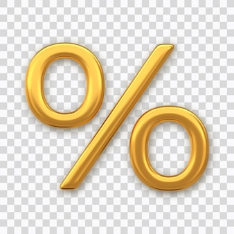 Procent symbool. gouden procentteken geïsoleerd op transparante achtergrond. percentage, kortingsconcept. realistische 3d-vectorillustratie.