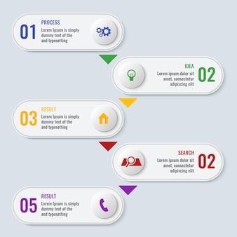 Proces bedrijfsgrafiek met vijf stappen in lange rechthoekige vorm met afgeronde randen met inscripties en verbonden met pijlen vector poster