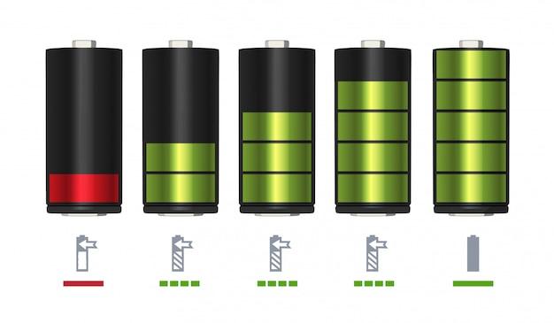 Proces om de batterij op te laden. minimale en volledige lading.
