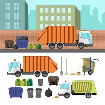 Proces om vuilnis met vuilniswagen te nemen