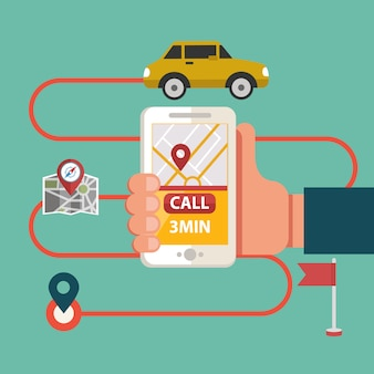 Proces van het boeken van taxi via mobiele app