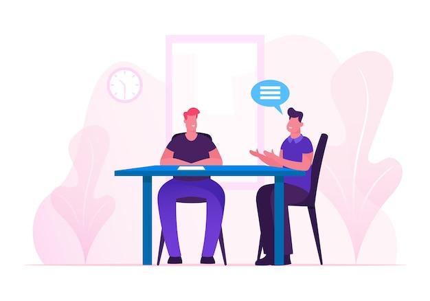 Proces voor zakelijke bijeenkomsten. cartoon vlakke afbeelding