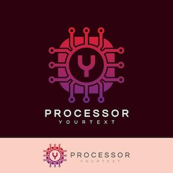 Processor initiaal letter a logo ontwerp