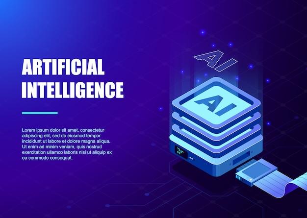 Processorchip en digitaal circuit voor kunstmatige intelligentie-sjabloon