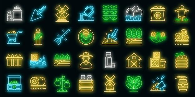Producent pictogrammen instellen. overzichtsreeks producent vectorpictogrammen neonkleur op zwart