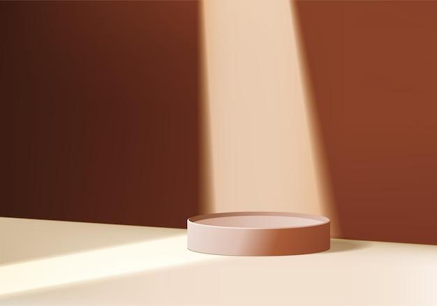 Product abstracte minimale scèneschijnwerper met geometrisch platform. spotlight achtergrond renderen met podium. scène om cosmetisch product in de schijnwerpers te zetten. product showcase op bruine scène