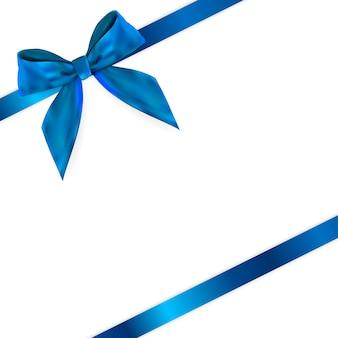 Product blue ribbon en bow 3d realistic