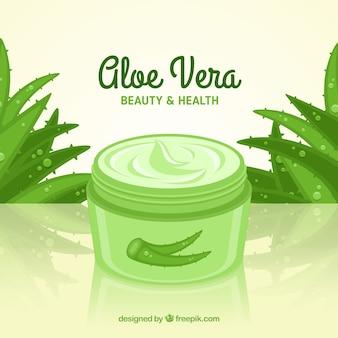 Product gemaakt van aloë vera met plat ontwerp