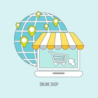 Product kopen via online winkelideeën in dunne lijnstijl