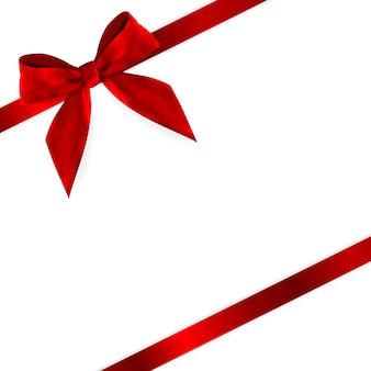 Product red ribbon en bow 3d realistic