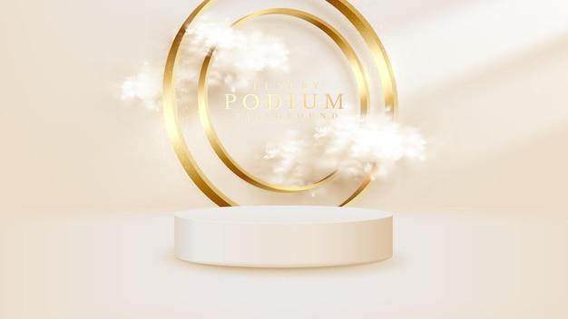 Product show podium met fonkelende gouden cirkel ring lijnen en wolken elementen, 3d-realistische luxe stijl achtergrond.