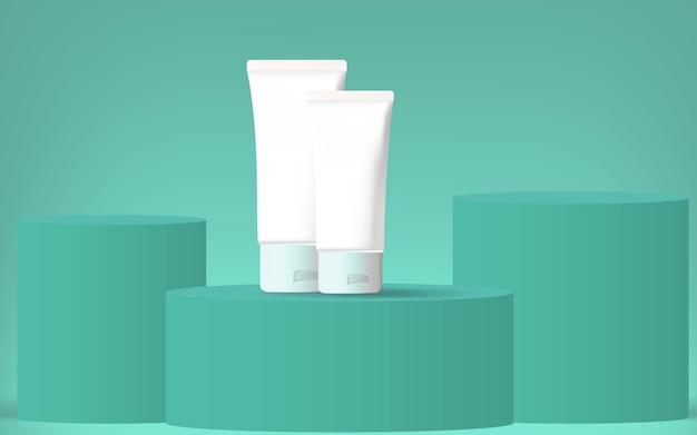 Product sjabloon achtergrond voor gezichtscrème / reiniger in minimale kleur groen ontwerp.