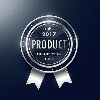 Product van het jaar zilveren badge label design