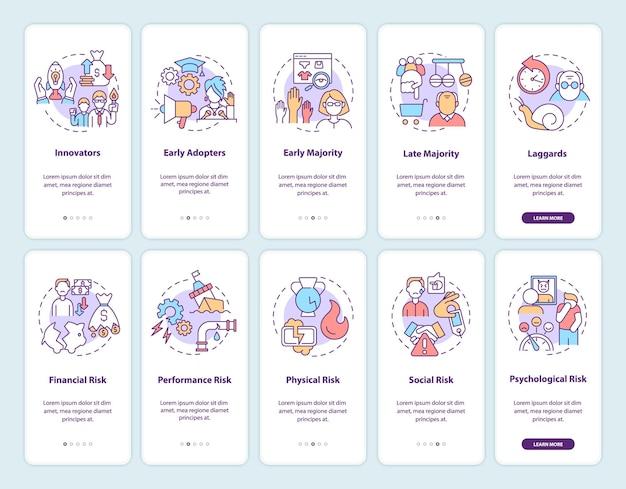 Productacceptatie onboarding mobiele app-paginascherm met concepten ingesteld