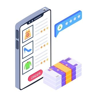 Producten feedback pictogram mobiel winkelen winkelen app concept