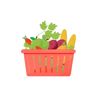 Producten in winkelmandje cartoon afbeelding. stokbrood, fruit en groenten egale kleur object. bakkerij en biologische producten, brood en groenten geïsoleerd op een witte achtergrond