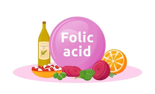 Producten rijk aan foliumzuur cartoon afbeelding