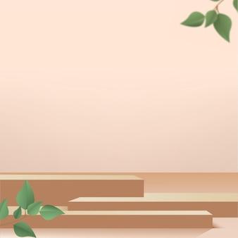 Producten tonen 3d-achtergrondpodiumscène met bruin geometrisch platform en groene bladeren. vector illustratie.
