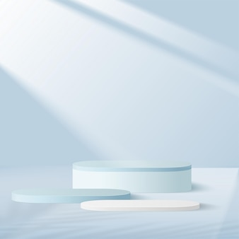 Producten tonen 3d podiumscène als achtergrond met geometrisch platform in blauwe vorm. vector illustratie.