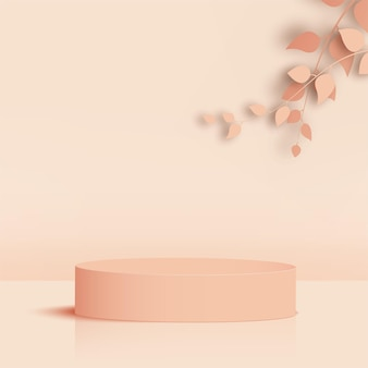 Producten tonen een 3d-achtergrondpodiumscène met een geometrisch platform in de vorm van een crème. vector illustratie
