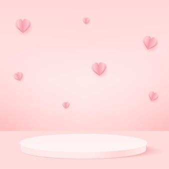 Producten tonen een 3d-achtergrondpodiumscène met vliegende harten en een geometrisch platform met een roze vorm. vector illustratie.