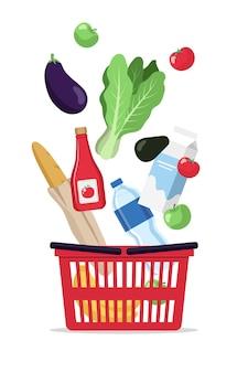 Producten vallen in een winkelmandje, supermarkt ilustration
