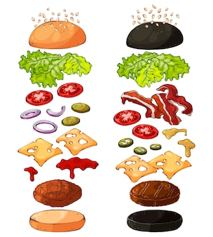 Producten voor het koken van hamburgers.