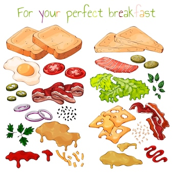 Producten voor het koken van sandwiches.
