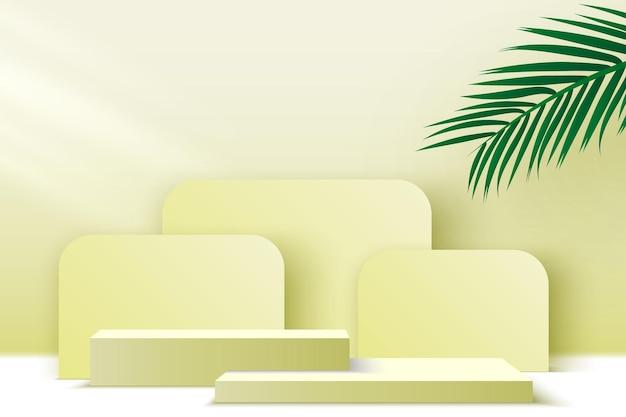 Producten weergeven platform leeg podium met palmbladeren voetstuk vectorillustratie
